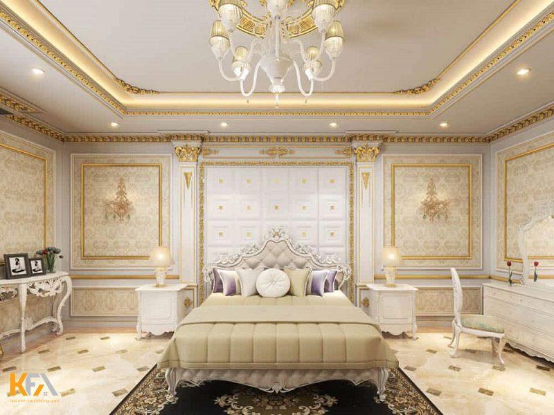 Mẫu trần thạch cao phòng ngủ với thiết kế phong cách tân cổ điển, ánh sáng phòng nhẹ nhàng thanh thoát