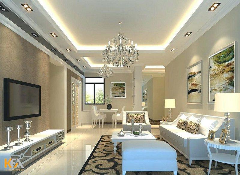 Mẫu trần thạch cao đơn giản nhưng không kém phần sang trọng cho toàn bộ không gian ngôi nhà