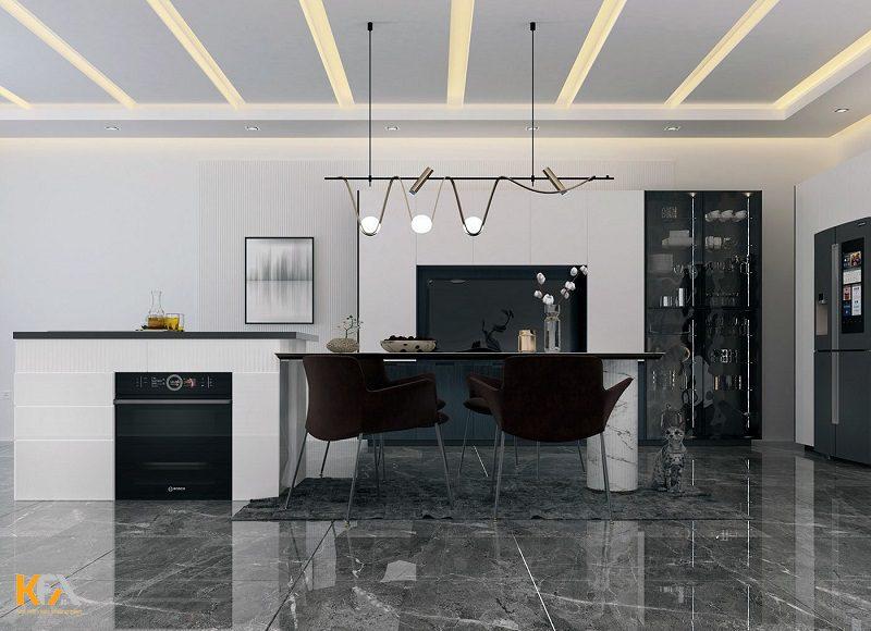 Thiết kế nội thất phòng bếp hiện đại, màu sắc tươi sáng, kết hợp với trần thạch cao giật cấp cách điệu