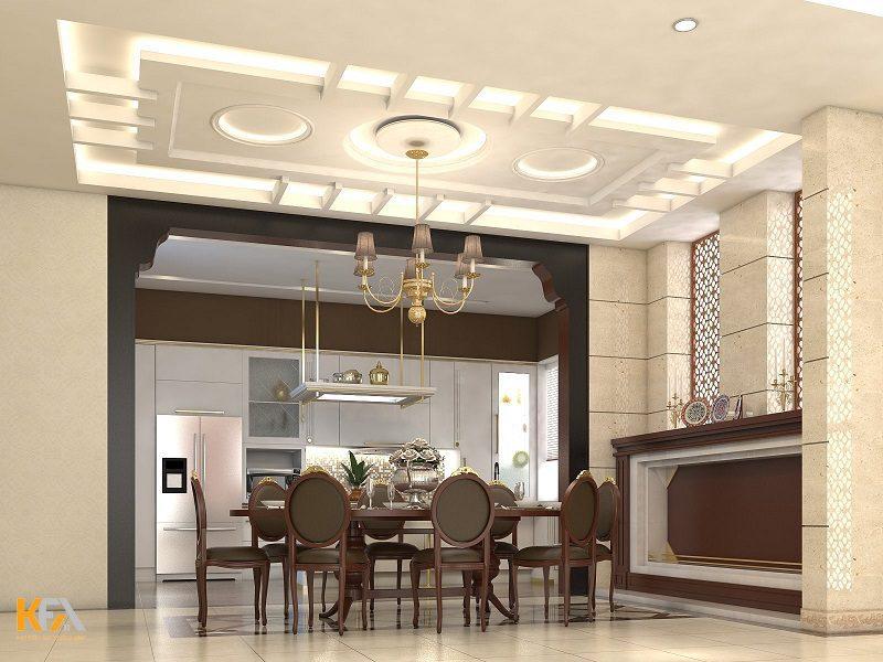 Phòng bếp tone màu trắng được thiết kế hiện đại và cuốn hút với trần thạch cao vô cùng đẹp mắt