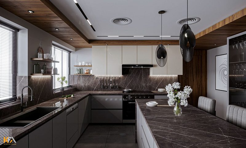 Phòng bếp được thiết kế trần thạch cao giật 1 cấp hở đơn giản kết hợp đèn âm trần