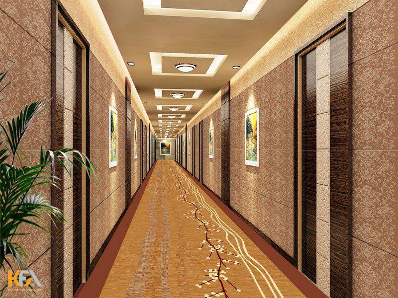 Mẫu trần thạch cao hành lang hiện đại cho khách sạn