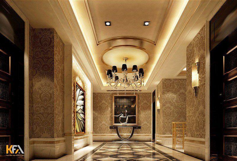 Mẫu trần thạch cao tân cổ điển hành lang khách sạn