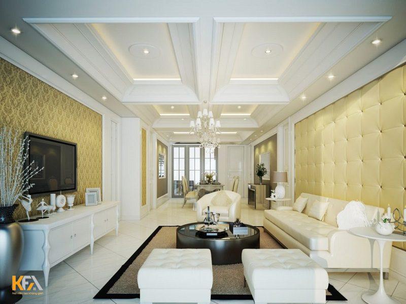 Phòng khách nhà ống tuyệt đẹp được kết hợp cùng trần thạch cao