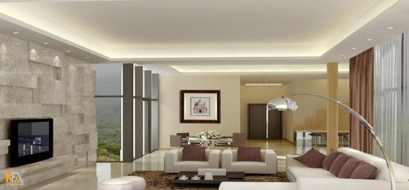 Trần thạch cao đơn giản được sử dụng phổ biến vì vẻ đẹp nhẹ nhàng của nó