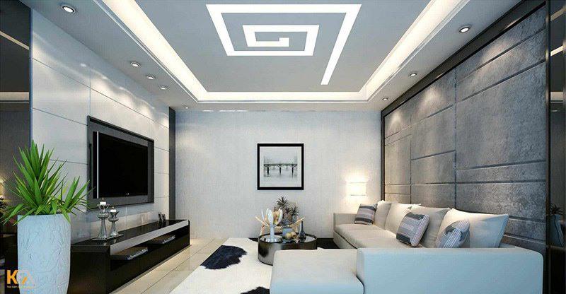 Trần thạch cao cho phòng khách nhà ống sáng tạo