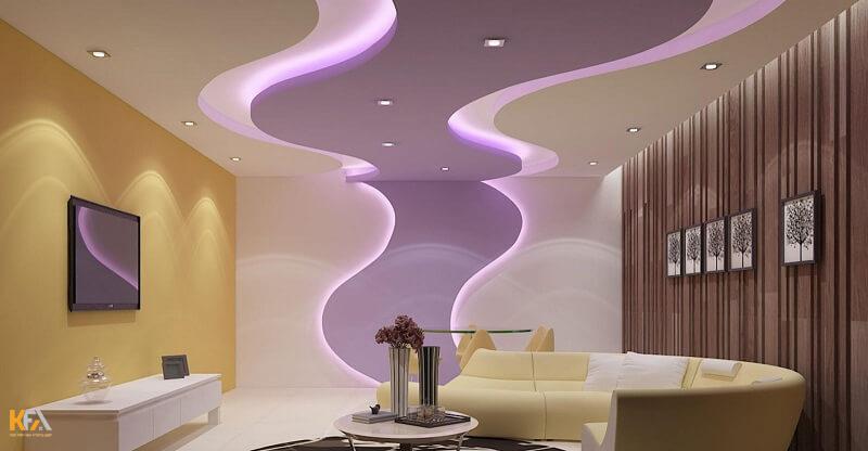 Những dải đèn led chạy dọc ở các góc trần thạch cao đẹp giúp căn phòng thêm lung linh hơn