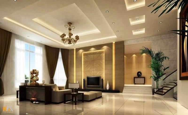 Mẫu trần thạch cao phòng khách này dễ dàng kết hợp với những họa tiết trang trí khác nhau