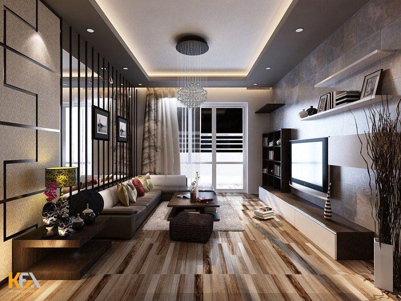 Trần màu ghi xám động bộ với các nội thất trong phòng như sofa, tường,... vô cùng bắt mắt