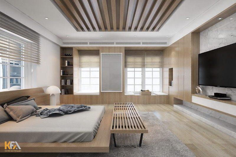 Mẫu trần thạch cao phòng ngủ với thiết kế độc đáo, lựa chọn đèn đơn cho ánh sáng nhẹ nhàng