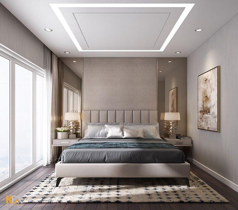 Mẫu trần thạch cao đơn giản nhưng không kém phần sang trọng cho phòng ngủ